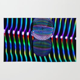 Vertical colours in the glass ball. Rug