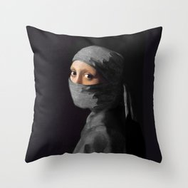 Ninja with a Pearl Earring Under Her Cowl Throw Pillow