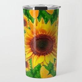 Green Yellow Butterflies Sunflowers Flowers  Art Travel Mug