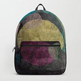 Modern abstract art sheer circles on black Backpack