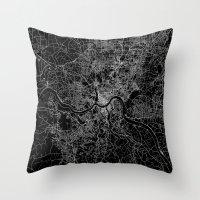 cincinnati Throw Pillows featuring Cincinnati map by Line Line Lines