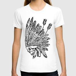 Indian chief skull head T-shirt