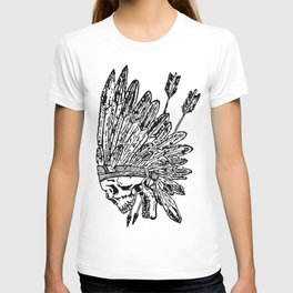 Indian chief skull head T-shirt