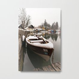 Boats At The Bled Lake Metal Print