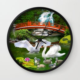 Swans and Baby Cygnets in an Oriental Landscape Wall Clock