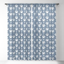 Dog Paws, Traces, Animal Paws, Hearts - Blue White Sheer Curtain