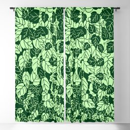Japanese Leaf Print, Emerald and Lime Green Blackout Curtain