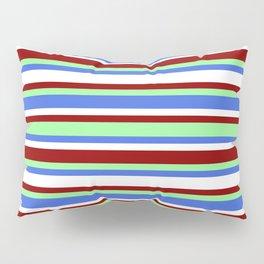 Eyecatching Green, Royal Blue, White & Dark Red Pattern of Stripes Pillow Sham