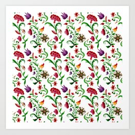 Bright seamless floral pattern on white background Art Print