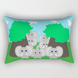 Herd Of Elephants Rectangular Pillow