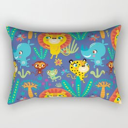 Kids Jungle Animals Monkey Lion Rhino Leopard Pattern Rectangular Pillow