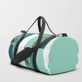 Teal Herringbone #society6 #teal #succulent Duffle Bag