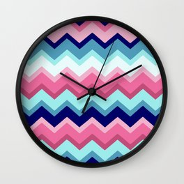 Rose and Blue Zigzags Wall Clock