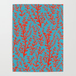 Turquoise and Red Leaves Pattern Poster