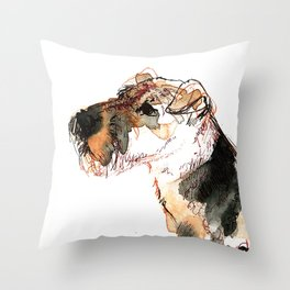 Airedale Terrier Watercolor #2 Throw Pillow