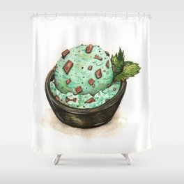 Mint Chocolate Chip Ice Cream Shower Curtain