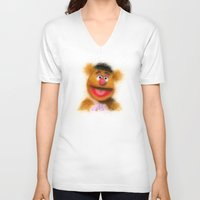 muppets V-neck T-shirts featuring Fozzie, The Muppets by KitschyPopShop