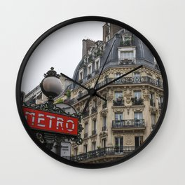 Paris architecture and Red Metro Sign Wall Clock