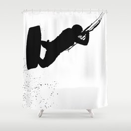 Up Up And Away Kiteboarder Silhouette Shower Curtain