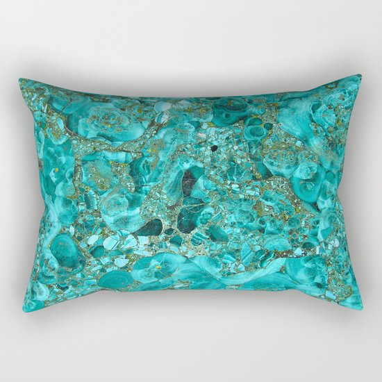 Marble Turquoise Blue Gold Rectangular Pillow