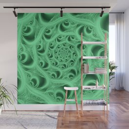 Fractal Web in Flourescent Green Wall Mural