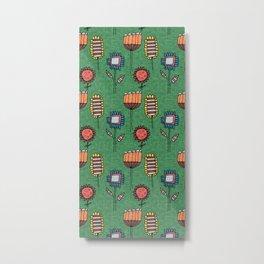 Geo Floral Mod Green Metal Print