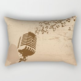Retro microphone with grunge music concept Rectangular Pillow