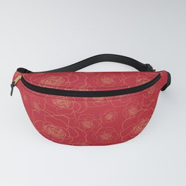 Golden Roses on Red Fanny Pack