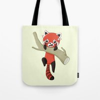 red panda Tote Bags featuring Red Panda by Freeminds