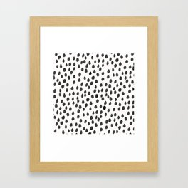 Hand painted monochrome dot pattern Framed Art Print