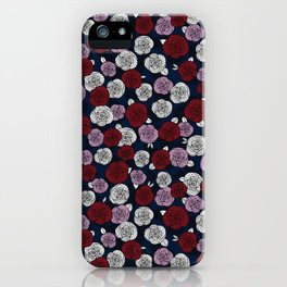 Roses in navy blue, orchid and burgundy red iPhone Case