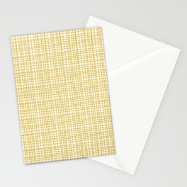 Fine Weave Retro Modern Mid-Century Pattern in Mustard Yellow and White Stationery Cards