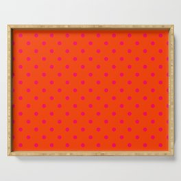 Orange Pop and Hot Neon Pink Polka Dots Serving Tray