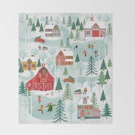 New England Christmas Throw Blanket