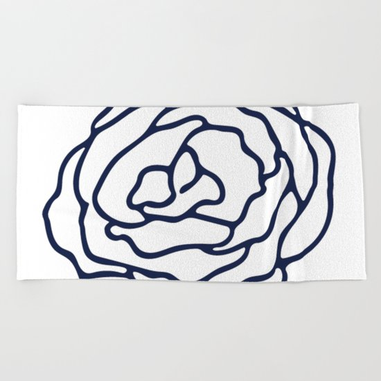 Rose Nautical Navy on White Beach Towel