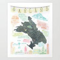 oakland Art Prints featuring Oakland Map by Mara Penny