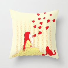Bubbly Hearts Throw Pillow