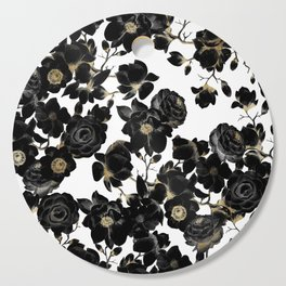 Modern Elegant Black White and Gold Floral Pattern Cutting Board