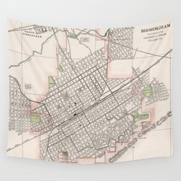 Vintage Map of Birmingham Alabama (1901) Wall Tapestry