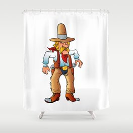 cowboy in duel cartoon Shower Curtain