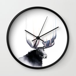 Moose in Watercolor - Elk Decor- King of the Forest Wall Clock