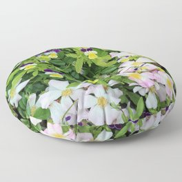 Cute Pansies and Pink and White Flowers Floor Pillow