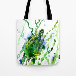 Green River Turtle Olive green Wall art Tote Bag