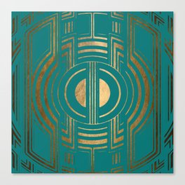 Art Deco Unfinished Love In Turquoise Canvas Print