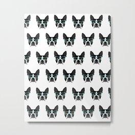Boston Terrier black and white minimal glasses dog fur baby terrier pattern dog art pet portraits  Metal Print