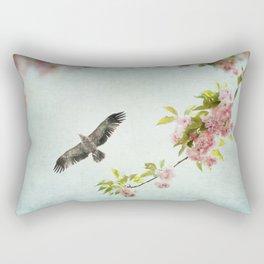 Bird and Flowering Branch Rectangular Pillow