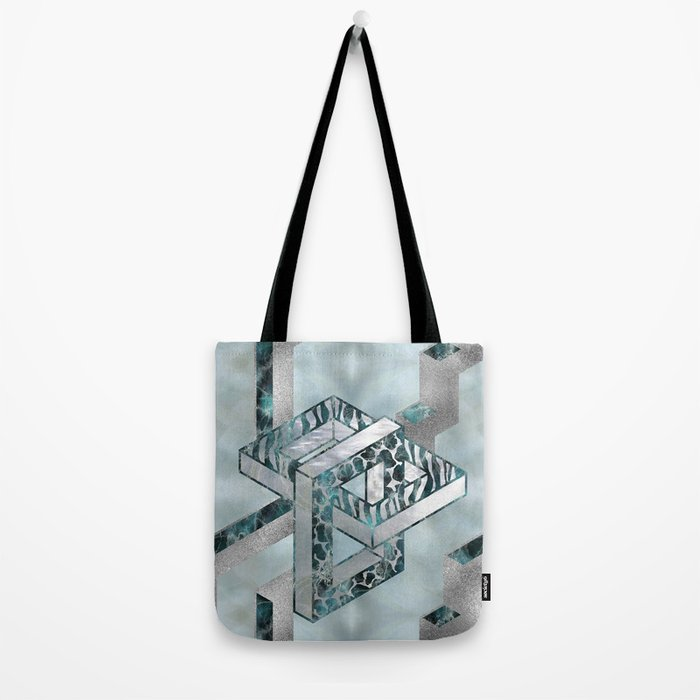Abstract 3D Geometric Labradorite on Mother of pearl Tote Bag