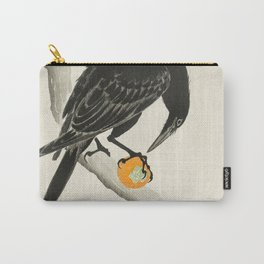 Crow eating persimmon Fruit - Vintage Japanese Woodblock Print Art Carry-All Pouch