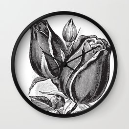 Vintage Rose Buds Wall Clock