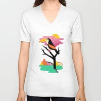 toucan V-neck T-shirts featuring Toucan by Vasilisa Wise
